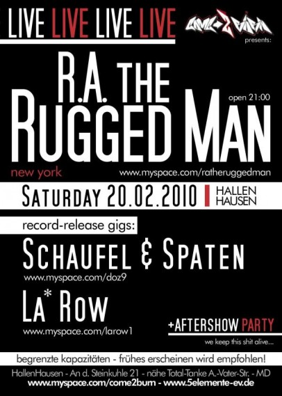 Flyer R.A. the Rugged Man in Magdeburg am 20.2.2010